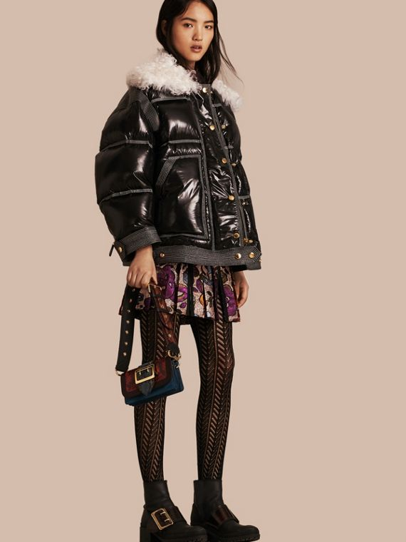 Down-filled Glossy Puffer with Shearling Collar