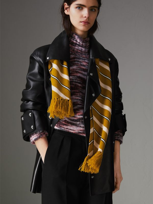 Tri-tone Striped Wool Cashmere Scarf in Dusty Yellow | Burberry United Kingdom - cell image 2