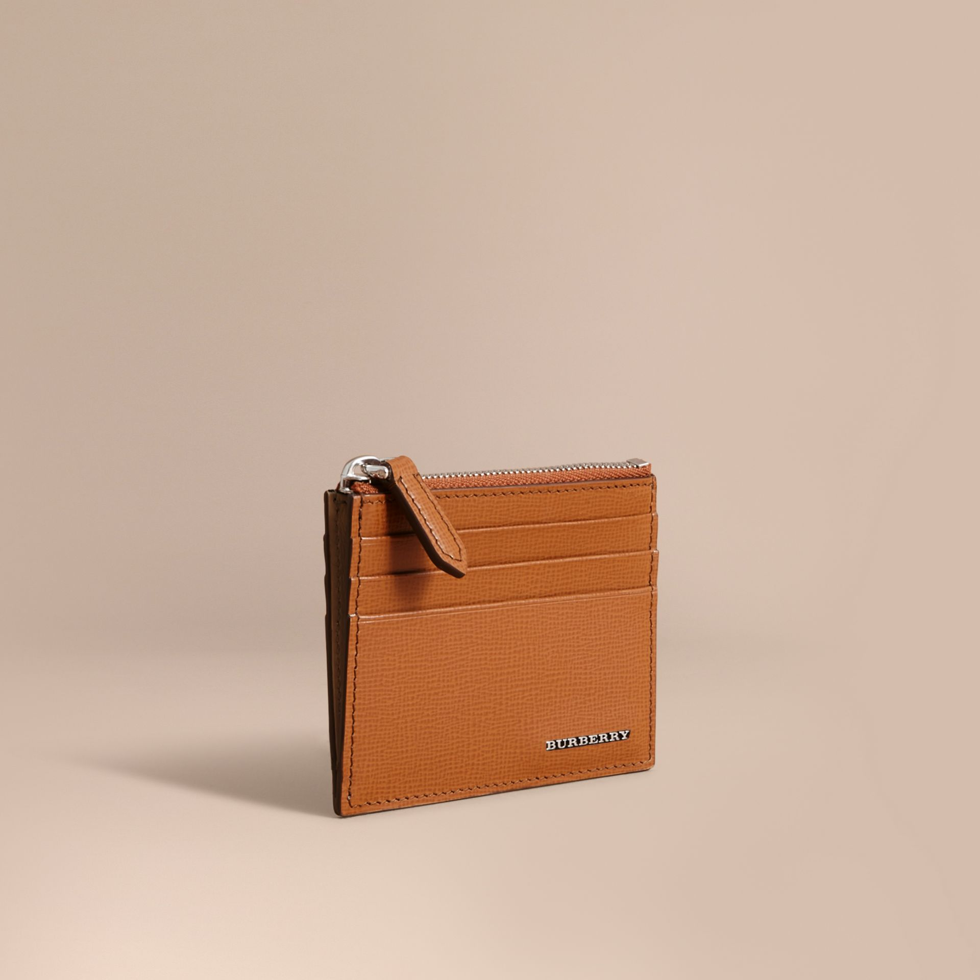London Leather Zip-top Card Case in Tan | Burberry - gallery image 0