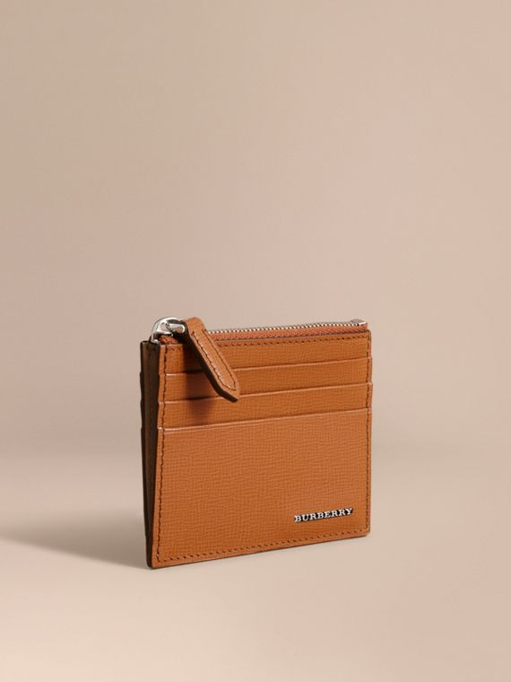 London Leather Zip-top Card Case Tan