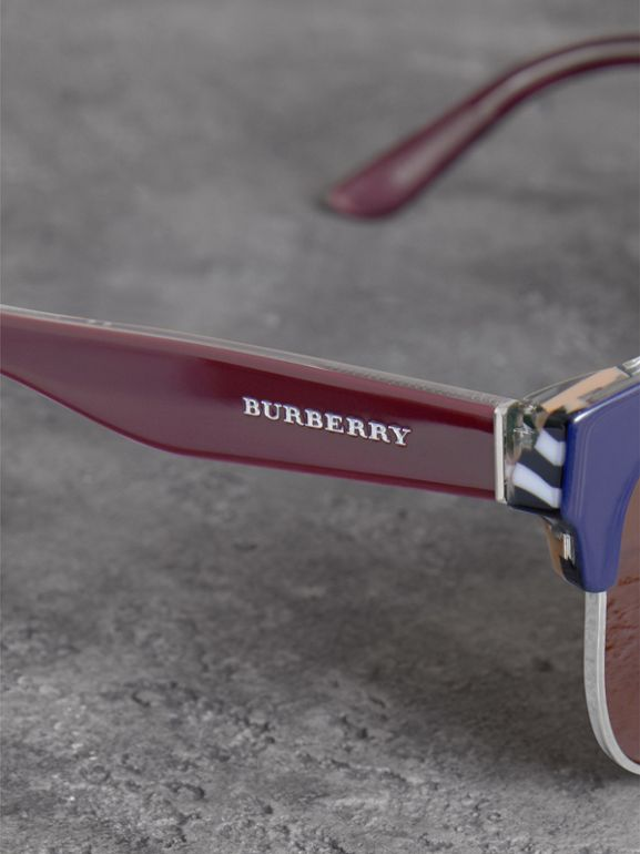 Check Detail D-frame Sunglasses in Blue - Men | Burberry Canada - cell image 1