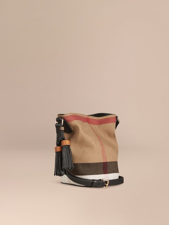 The Ashby piccola con pelle e motivo Canvas check Nero