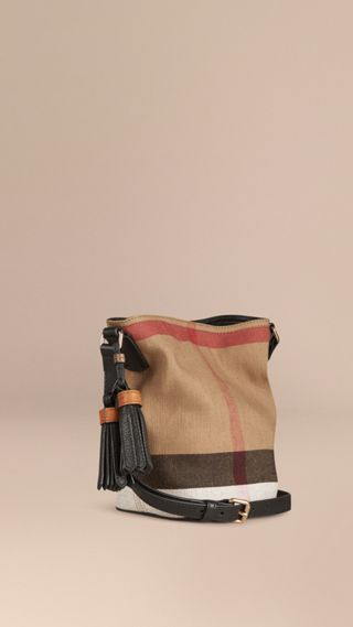 The Small Ashby in Canvas Check and Leather