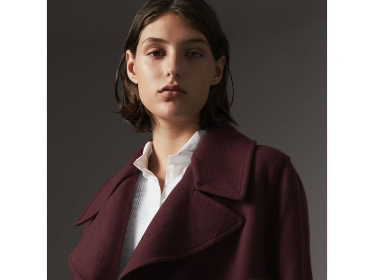 Double-faced Wool Cashmere Wrap Coat in Deep Claret - Women | Burberry Canada - cell image 4