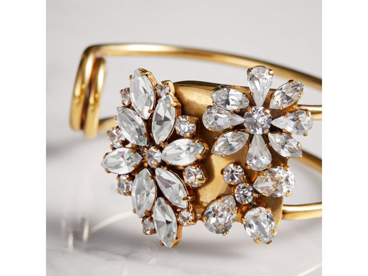 Crystal Daisy Brass Cuff - Women | Burberry United Kingdom - cell image 1