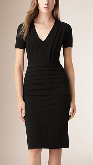 Pleat Detail Fitted Dress