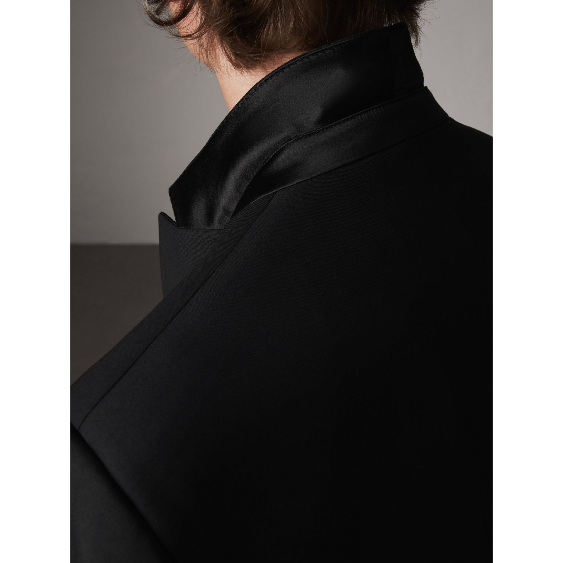 Modern Fit Wool Mohair Half-canvas Tuxedo in Black - Men | Burberry Australia - gallery image 7