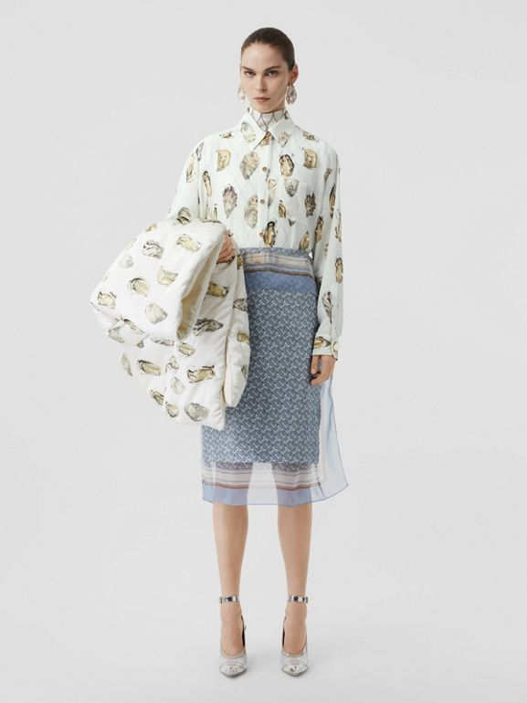 Embellished Oyster Print Silk Oversized Shirt in White - Women | Burberry Hong Kong S.A.R - cell image 1