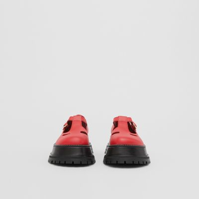 Leather T-bar Shoes in Red - Women