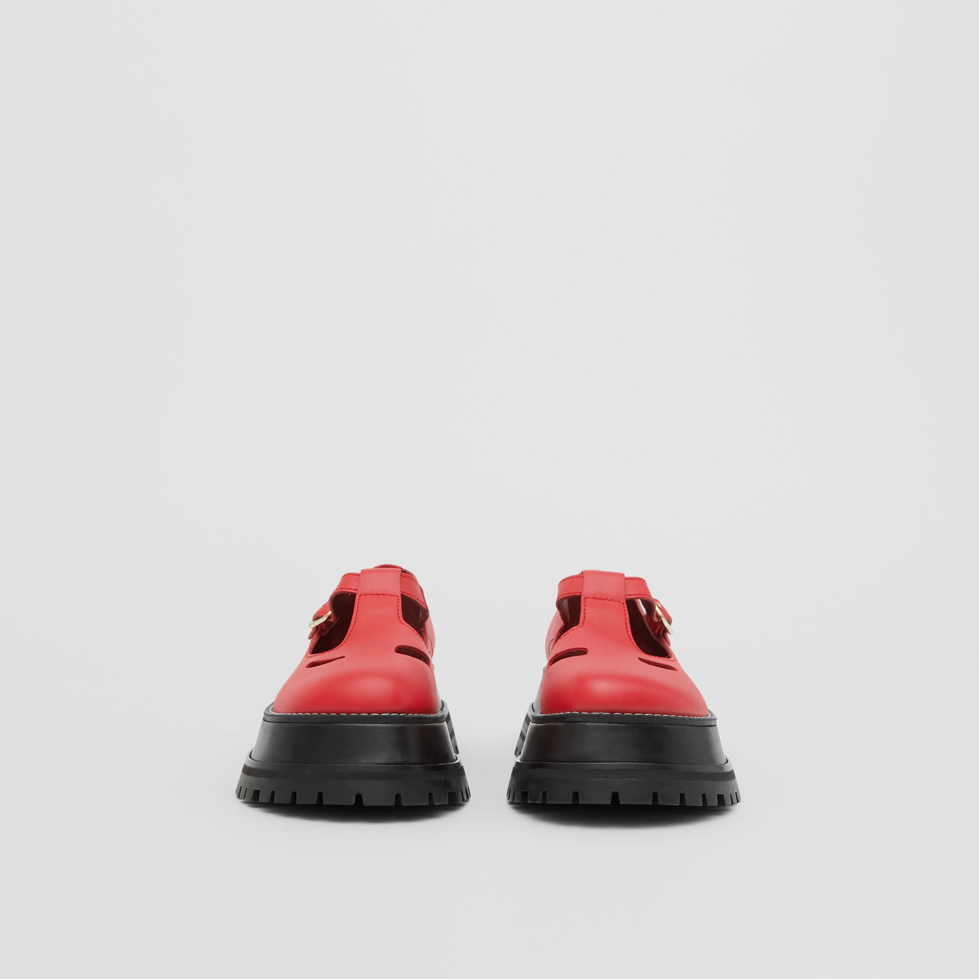 Leather T-bar Shoes in Red - Women | Burberry United Kingdom - gallery image 3
