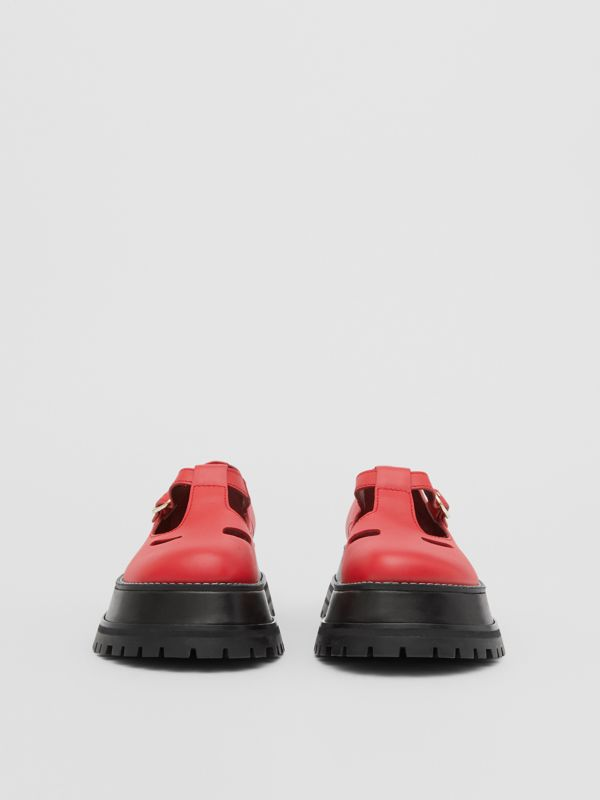 Leather T-bar Shoes in Red - Women | Burberry United Kingdom - cell image 3