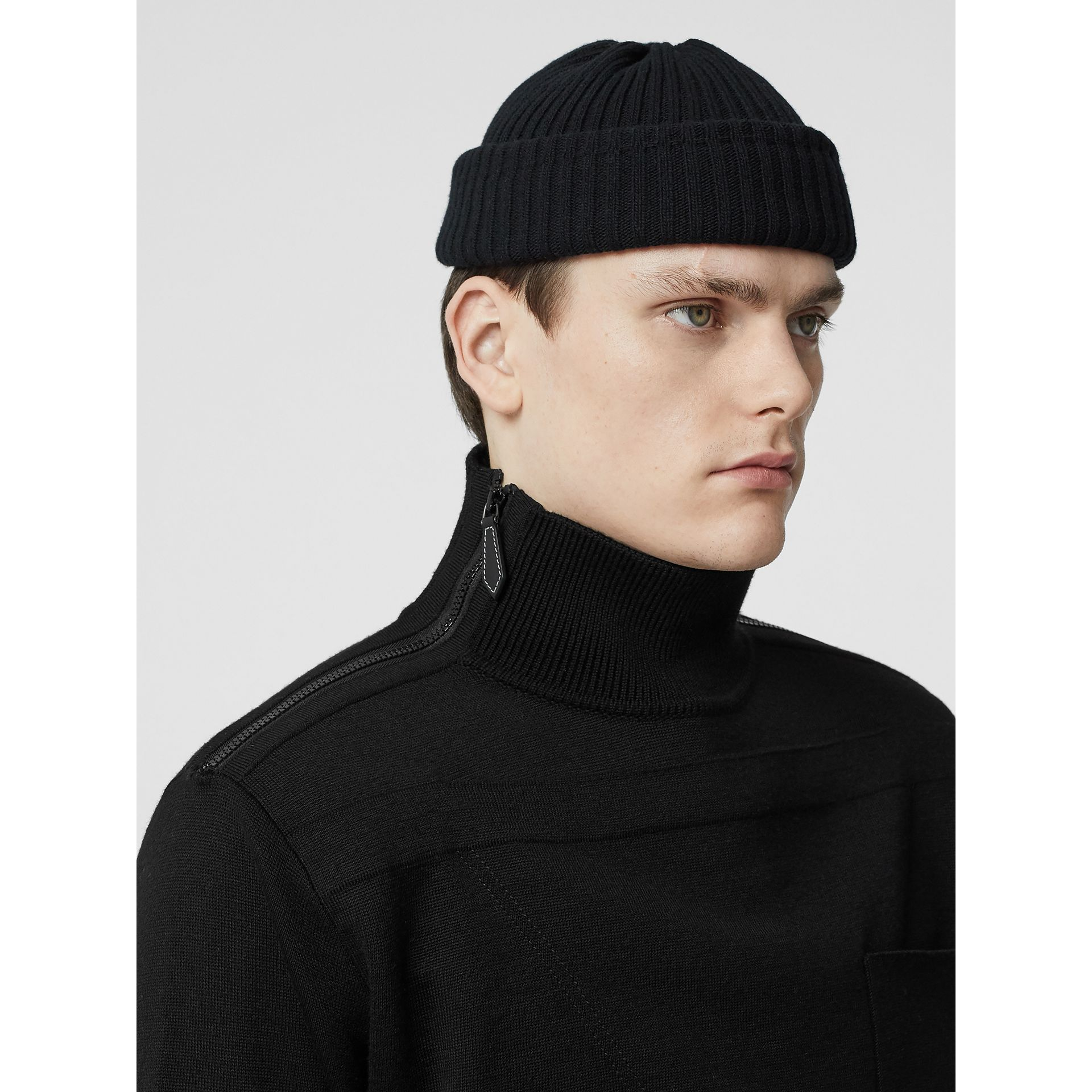 Zip Detail Wool Turtleneck Sweater in Black - Men | Burberry Australia - gallery image 6