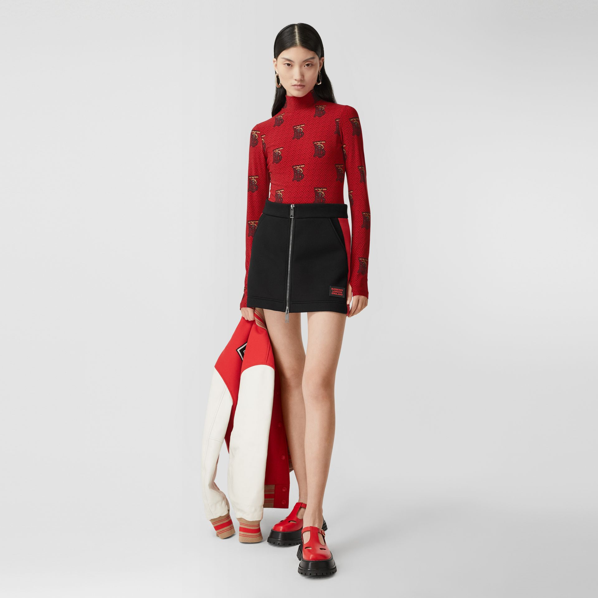 Monogram Motif Stretch Nylon Bodysuit in Bright Red - Women | Burberry - gallery image 0