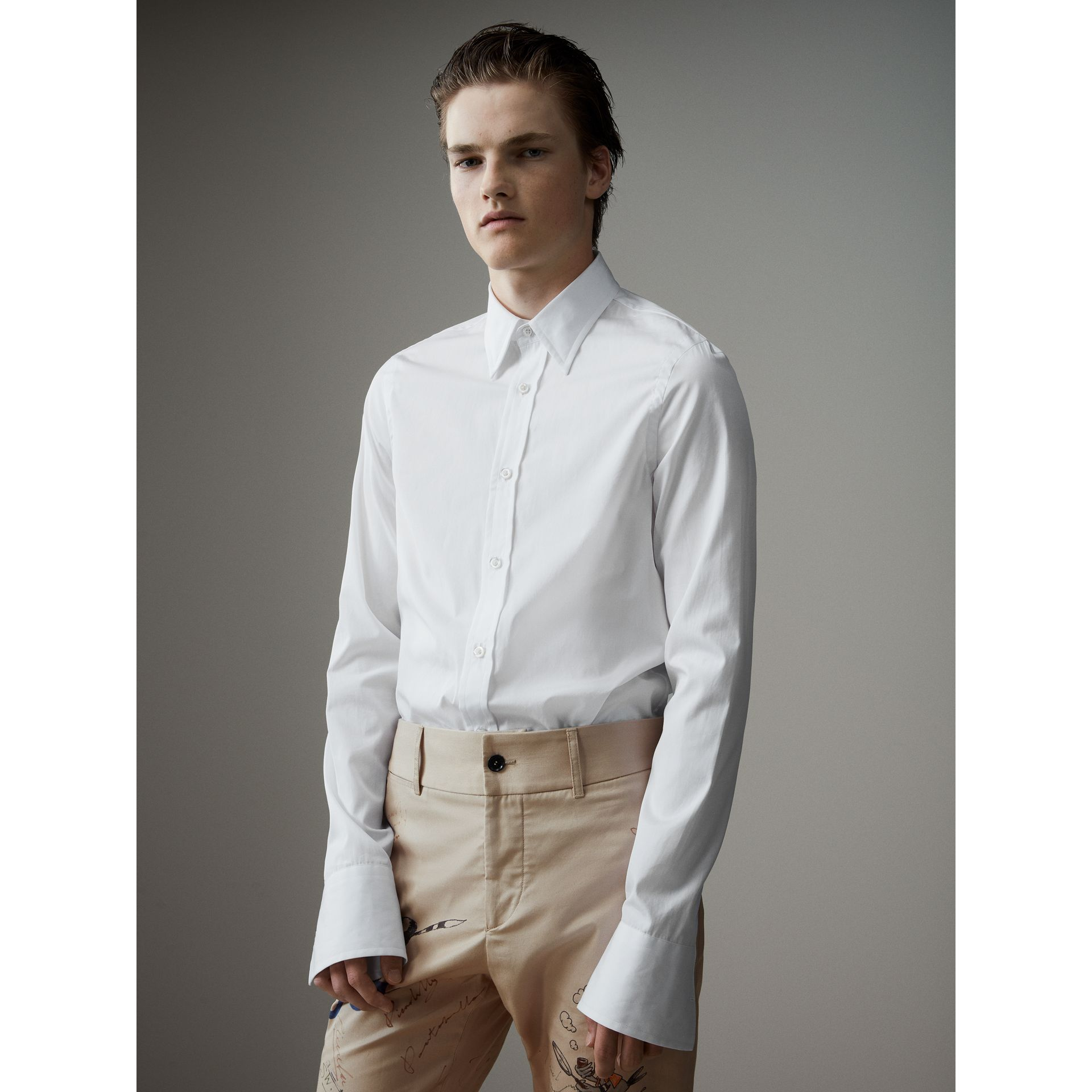 Worsted Cotton Poplin Evening Shirt in White - Men | Burberry - gallery image 5