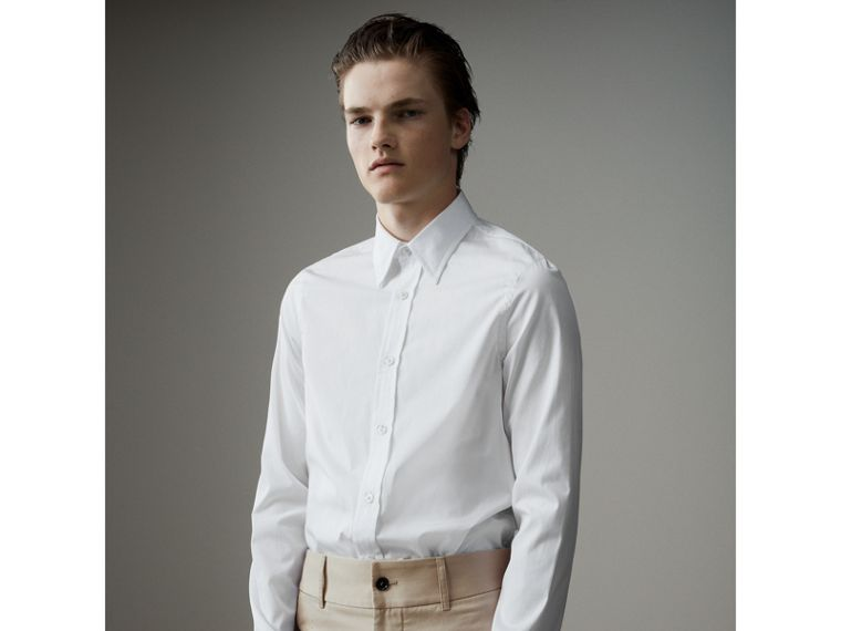 Worsted Cotton Poplin Evening Shirt in White - Men | Burberry United States - cell image 4