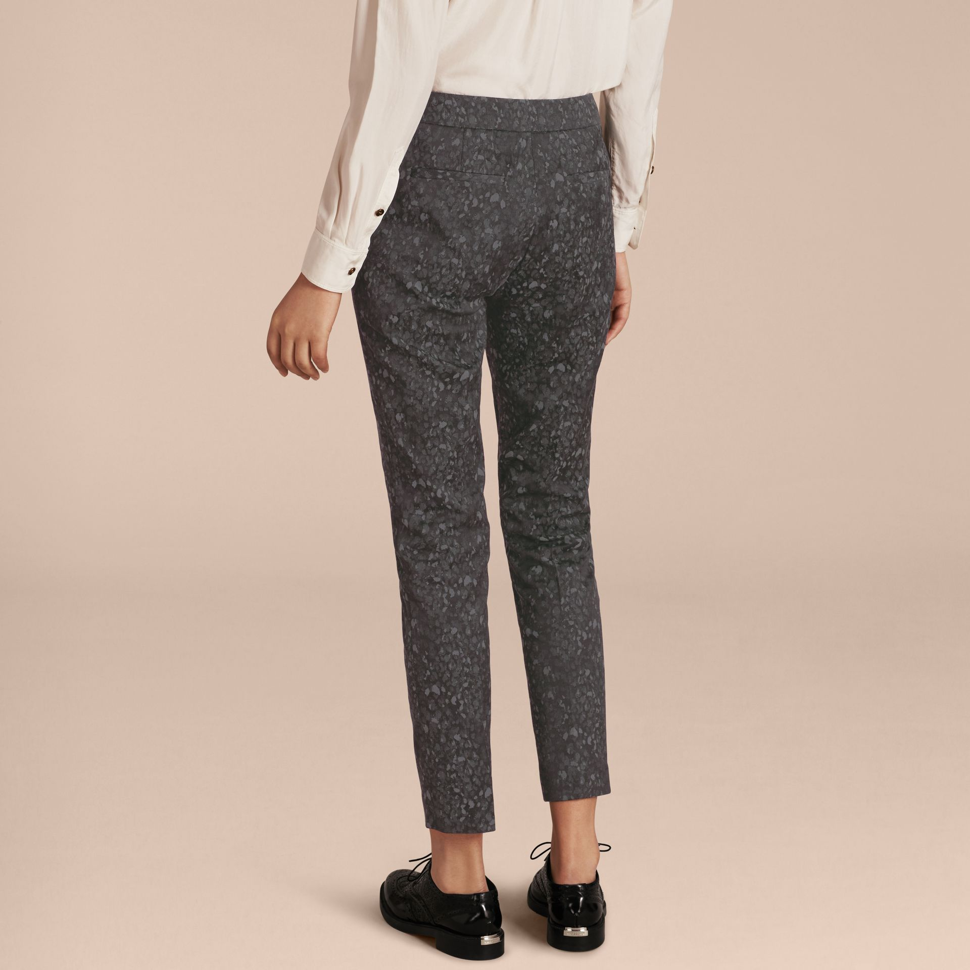 Dark grey Skinny Fit Jacquard Cotton Blend Trousers - gallery image 3