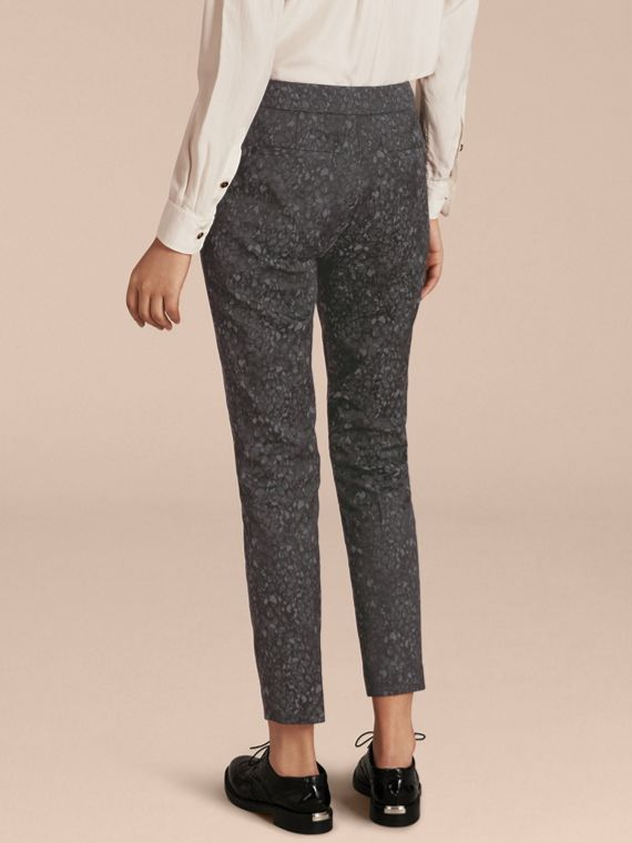 Dark grey Skinny Fit Jacquard Cotton Blend Trousers - cell image 2