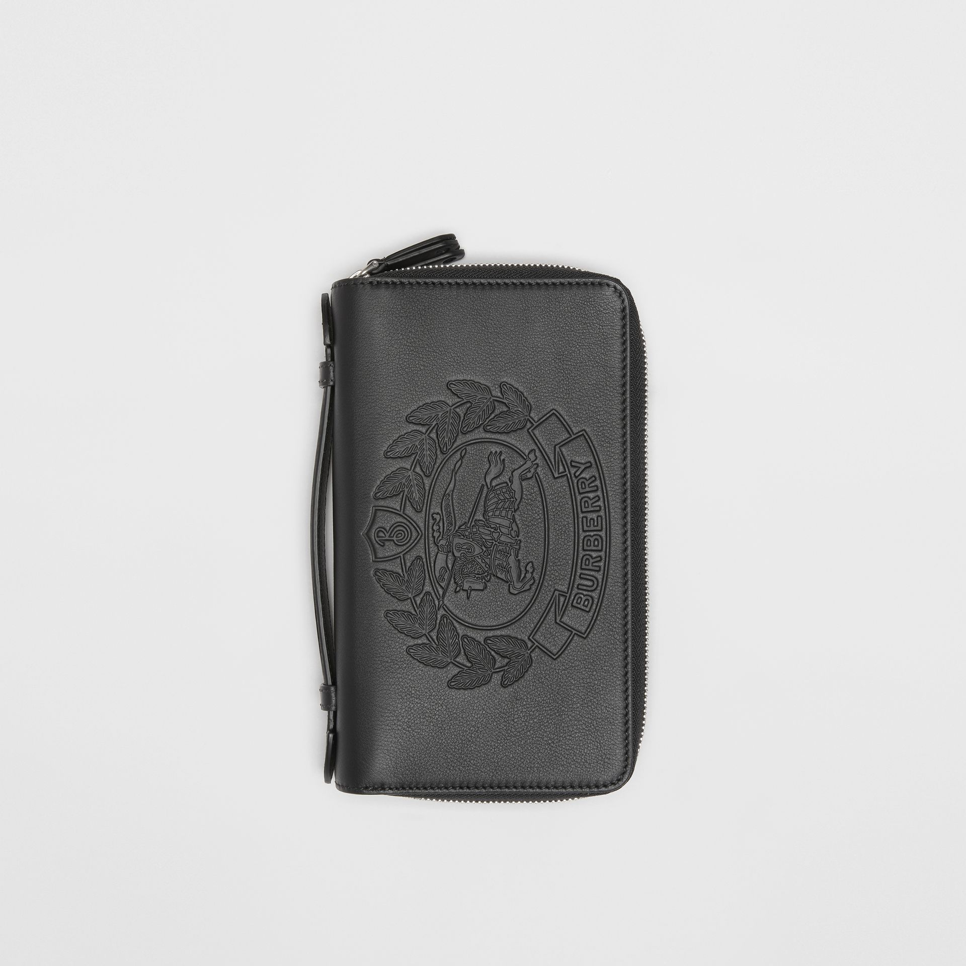 Embossed Crest Leather Travel Wallet in Black - Men | Burberry - gallery image 0
