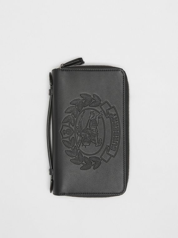 Embossed Crest Leather Travel Wallet in Black