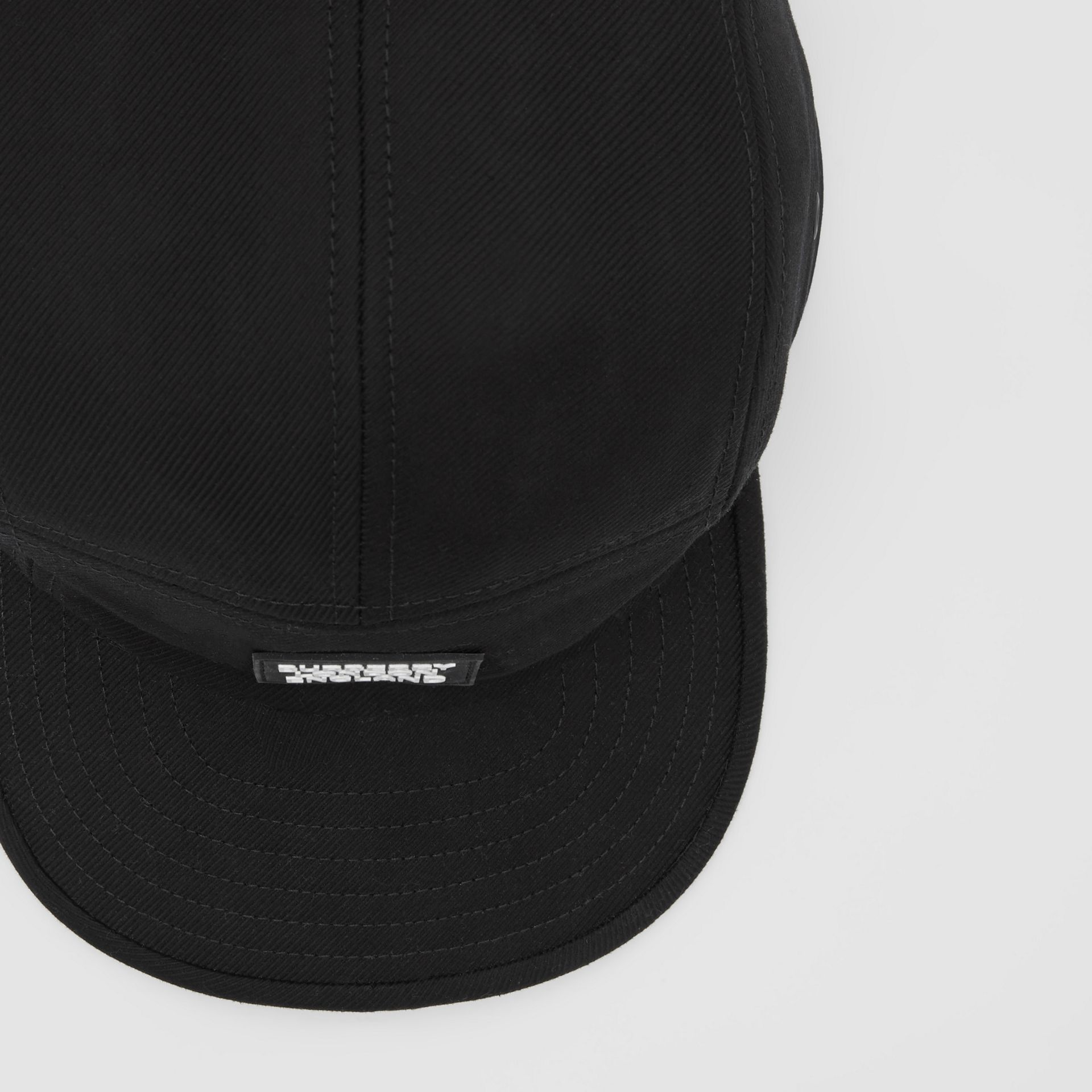 Logo Appliqué Cotton Twill Cap in Black | Burberry Singapore - gallery image 1