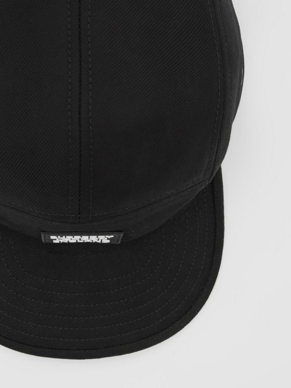 Logo Appliqué Cotton Twill Cap in Black | Burberry United States - cell image 1