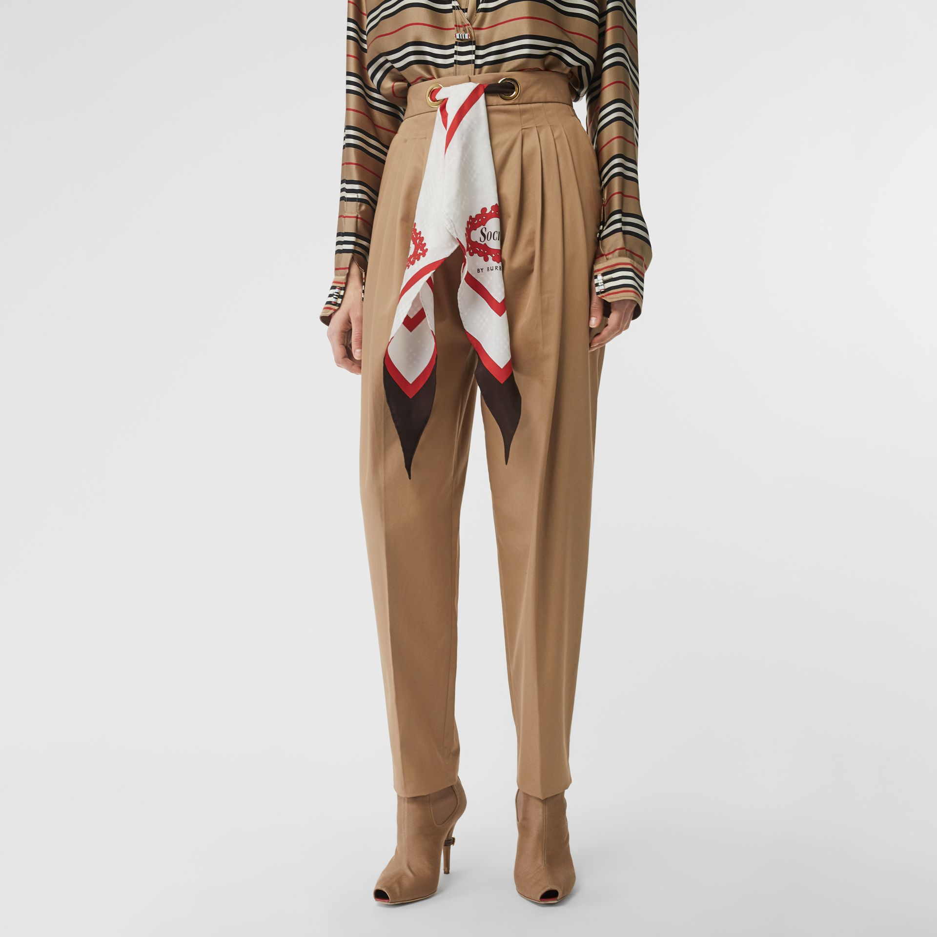 Scarf Detail Cotton Tapered Trousers in Driftwood - Women | Burberry Canada - gallery image 4