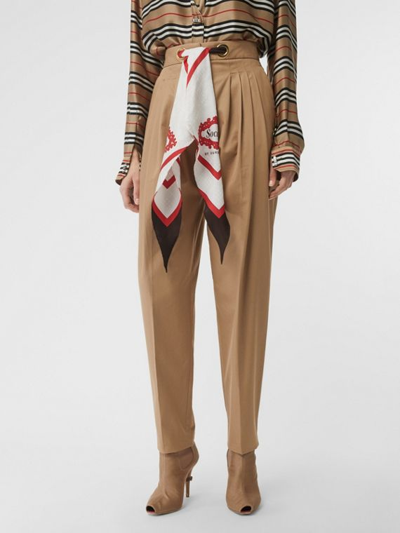 Scarf Detail Cotton Tapered Trousers in Driftwood