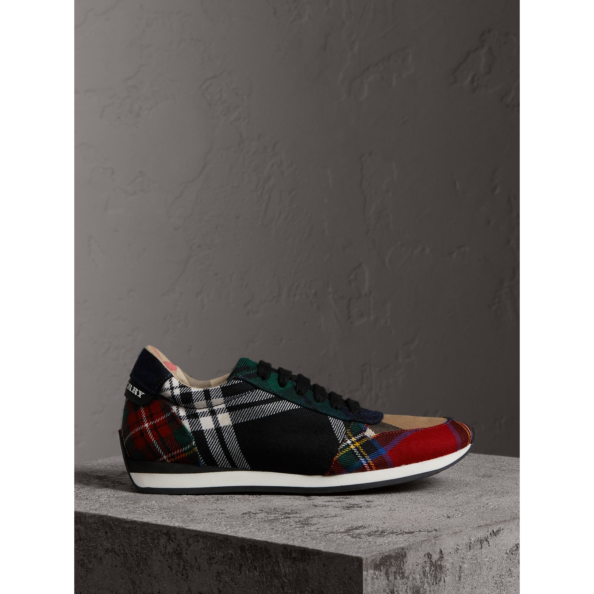 Tartan Wool Trainers in Black/bright Red - Women | Burberry Canada - gallery image 5