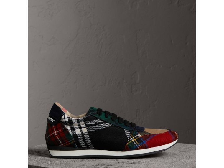 Tartan Wool Trainers in Black/bright Red - Women | Burberry - cell image 4