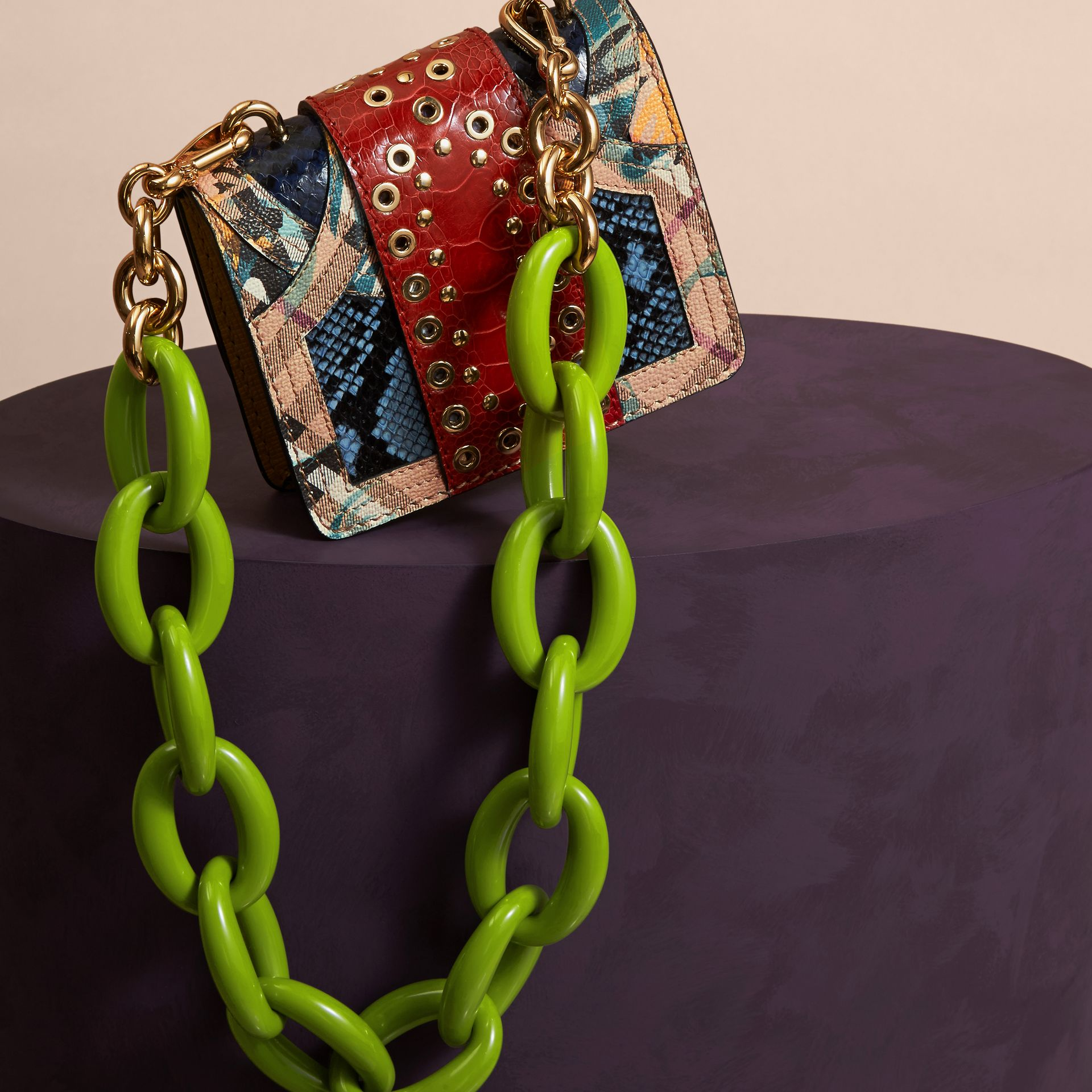 Pewter blue The Mini Square Buckle Bag in Snakeskin, Ostrich and Floral Print - gallery image 4