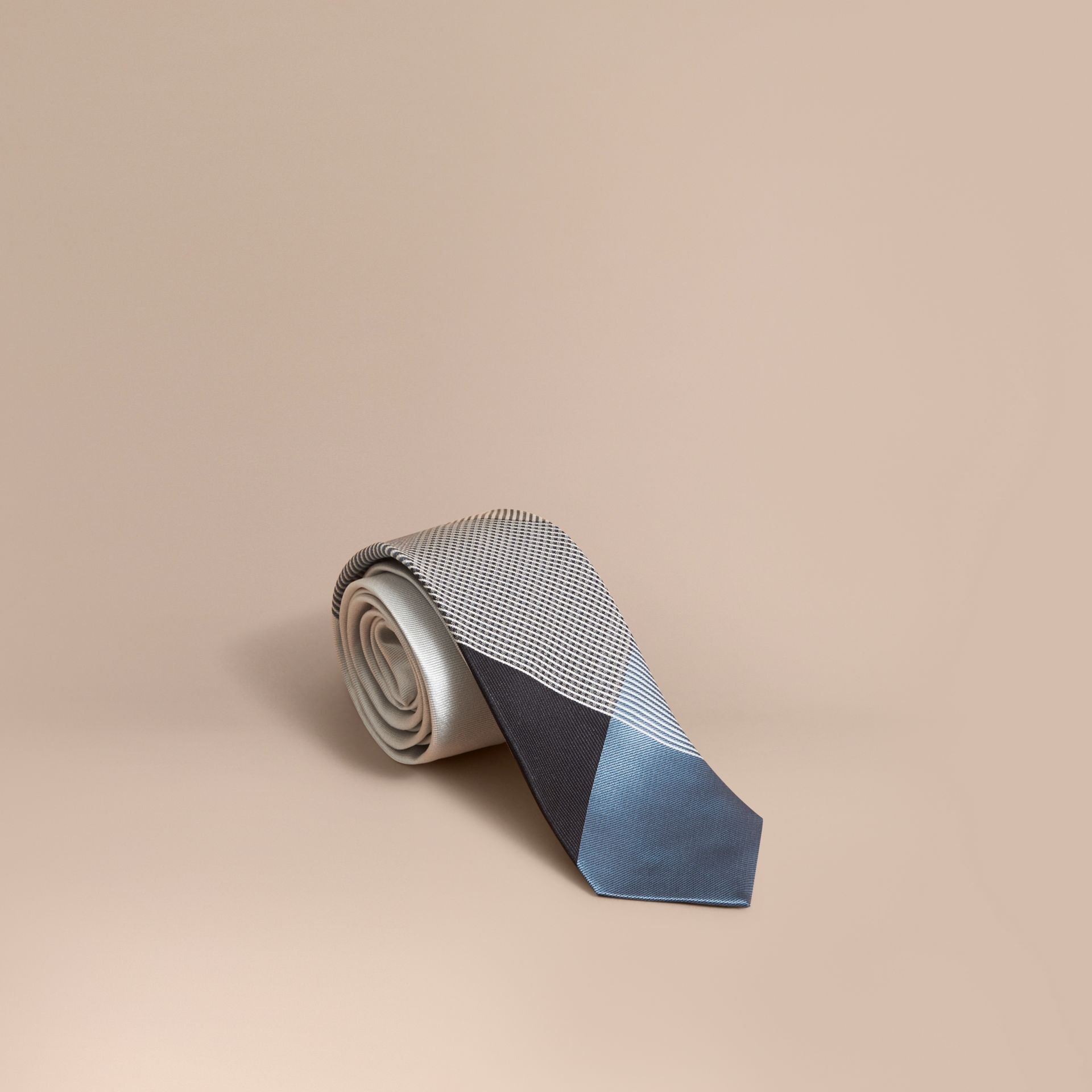 Modern Cut Gingham Check Silk Jacquard Tie in Slate Blue - Men | Burberry - gallery image 1