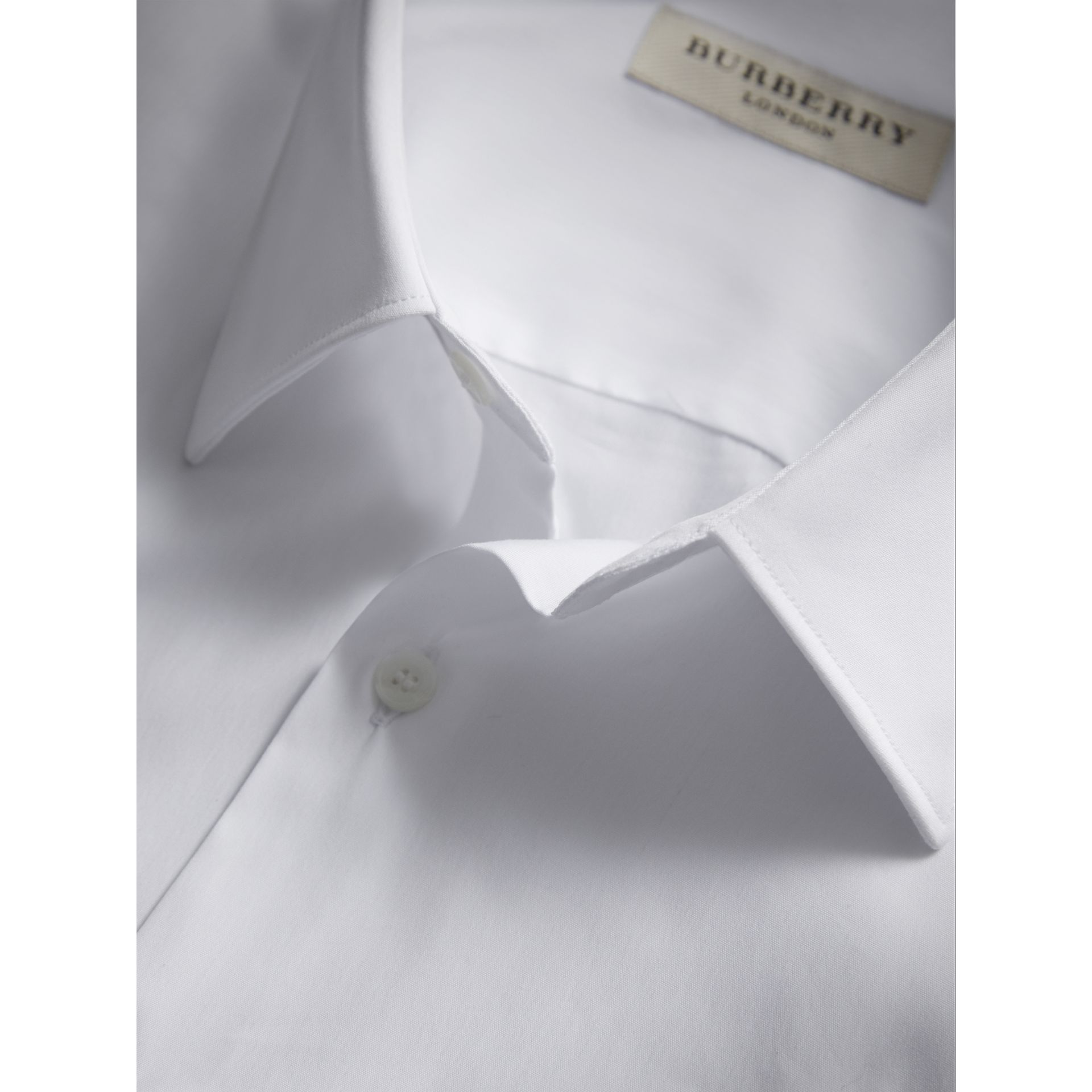 Slim Fit Short-sleeved Stretch Cotton Shirt in White - Men | Burberry - gallery image 2