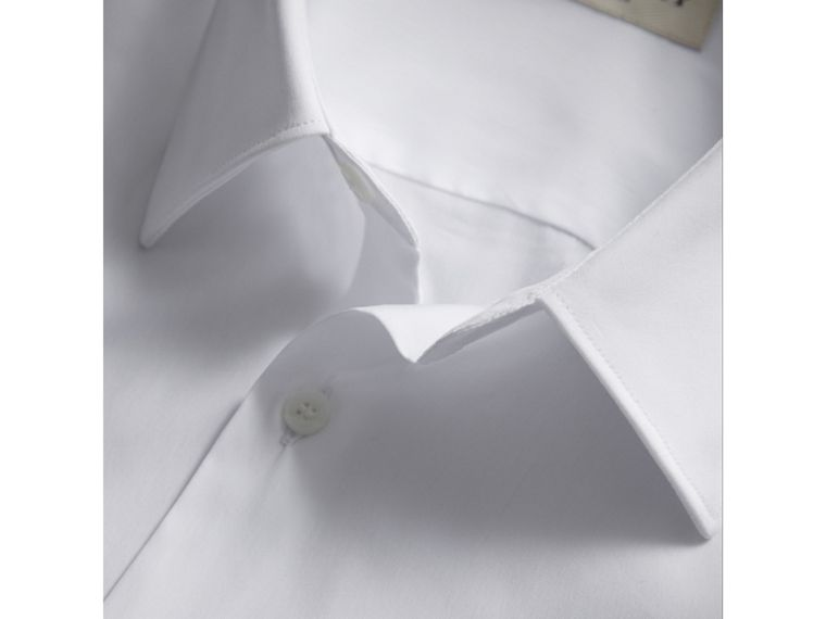 Slim Fit Short-sleeved Stretch Cotton Shirt in White - Men | Burberry - cell image 1