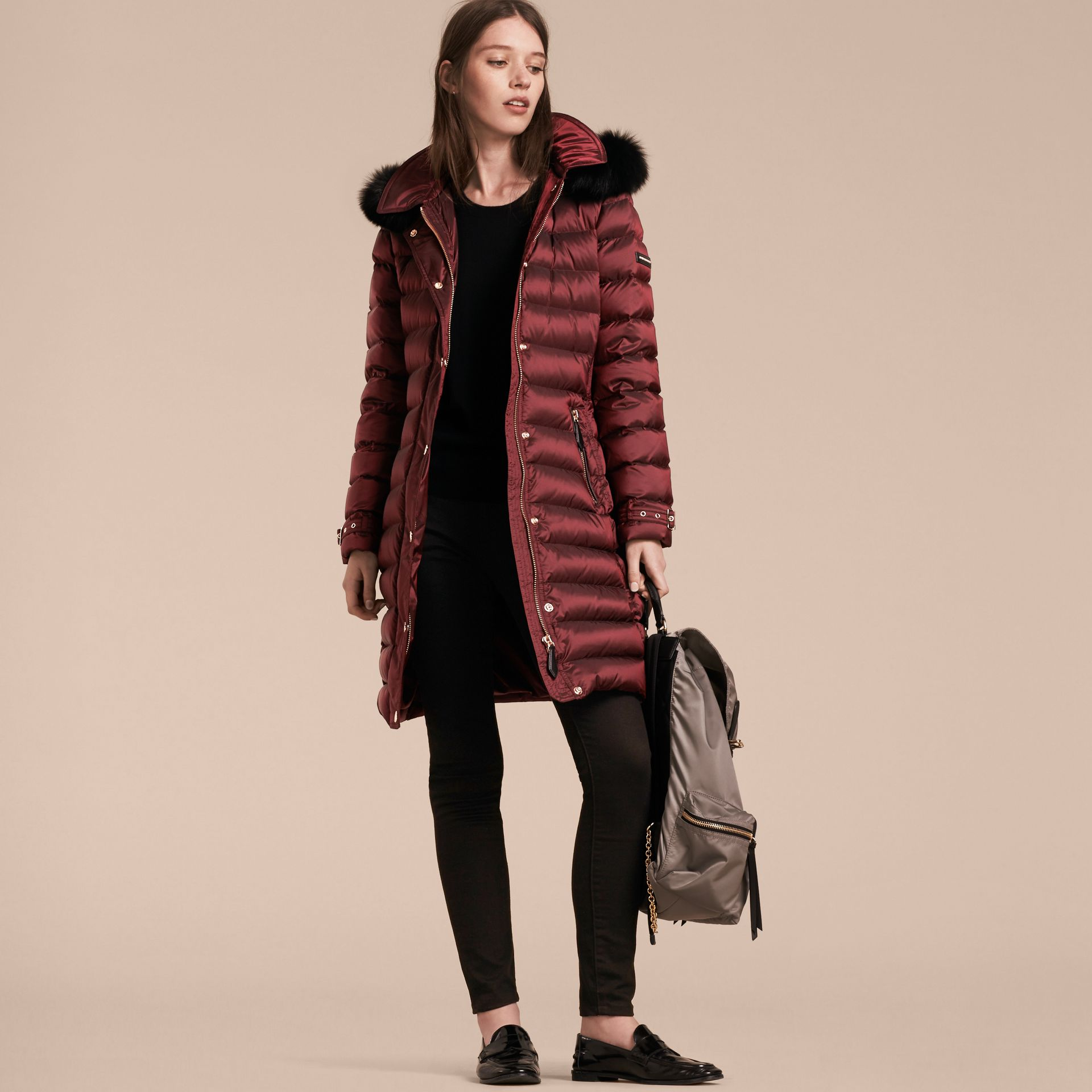 Down-filled Coat with Fox Fur Trim Hood in Burgundy - Women | Burberry - gallery image 7