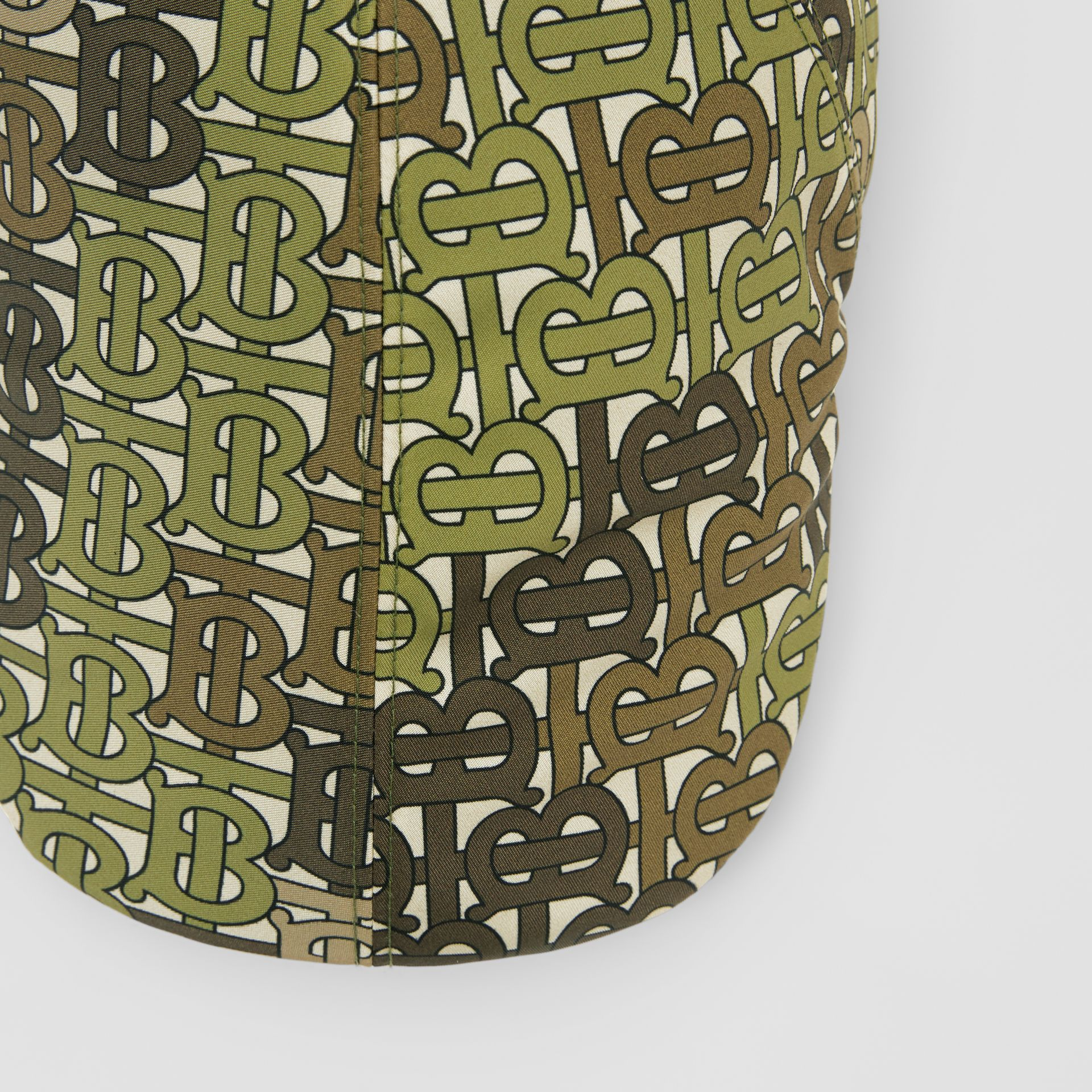Monogram Print Nylon Flat Cap in Khaki Green | Burberry - gallery image 1