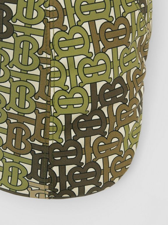 Monogram Print Nylon Flat Cap in Khaki Green | Burberry - cell image 1