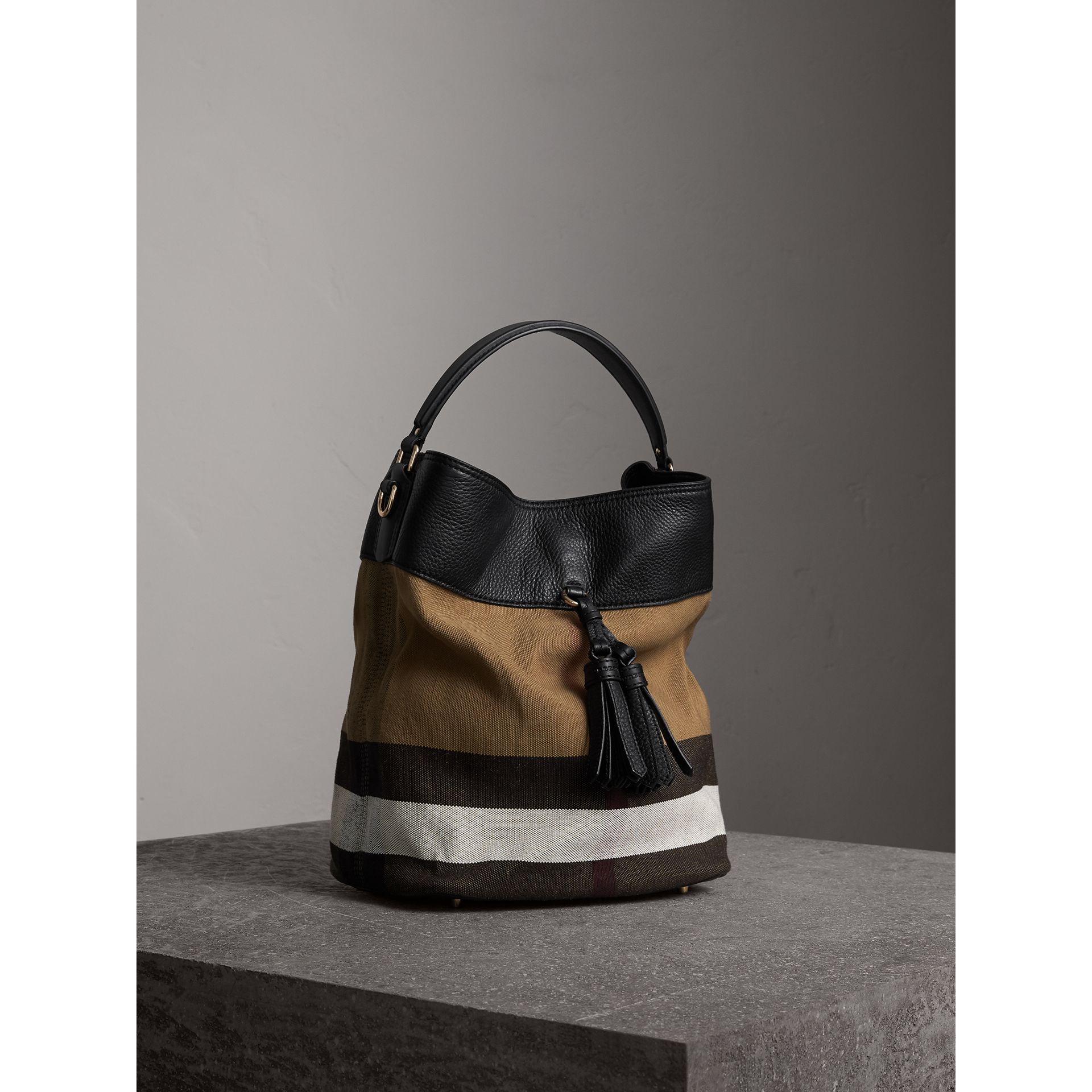 The Medium Ashby in Canvas Check and Leather in Black/black - Women | Burberry - gallery image 8