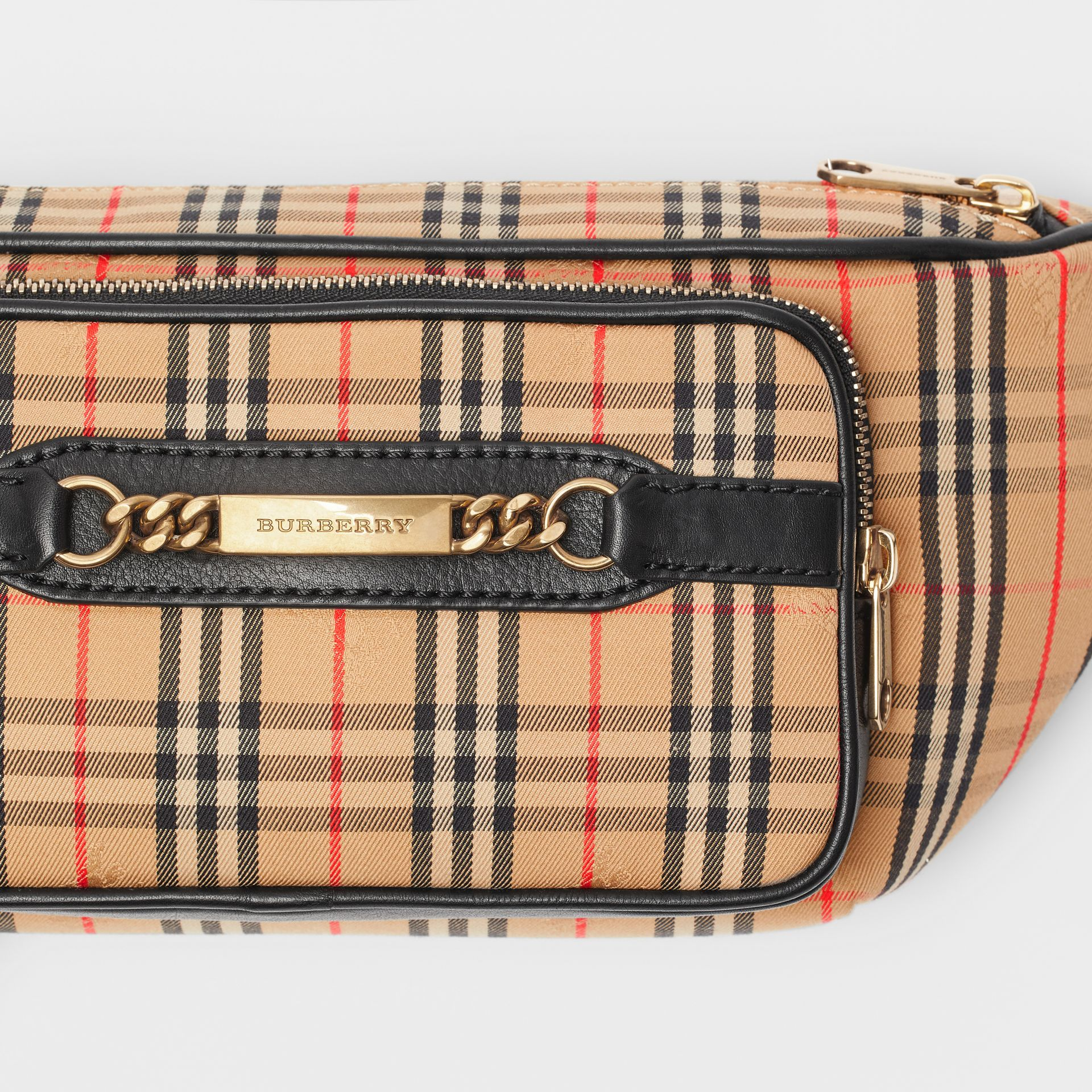 The Large 1983 Check Link Bum Bag in Black - Men | Burberry - gallery image 1
