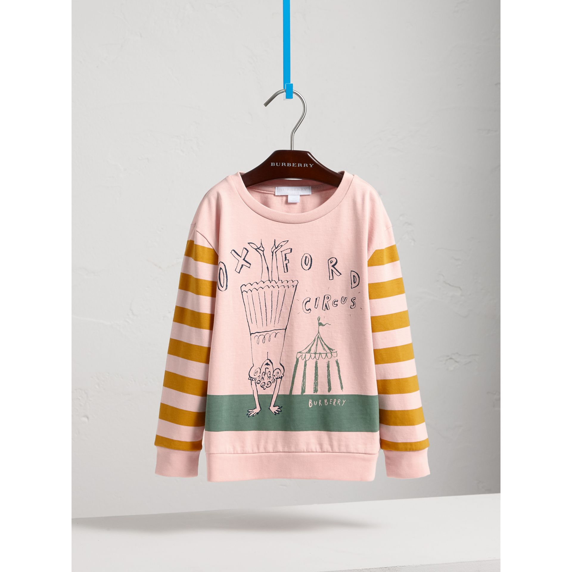 London Icons Print Cotton Long-sleeved Top in Chalk Pink - Girl | Burberry Canada - gallery image 3