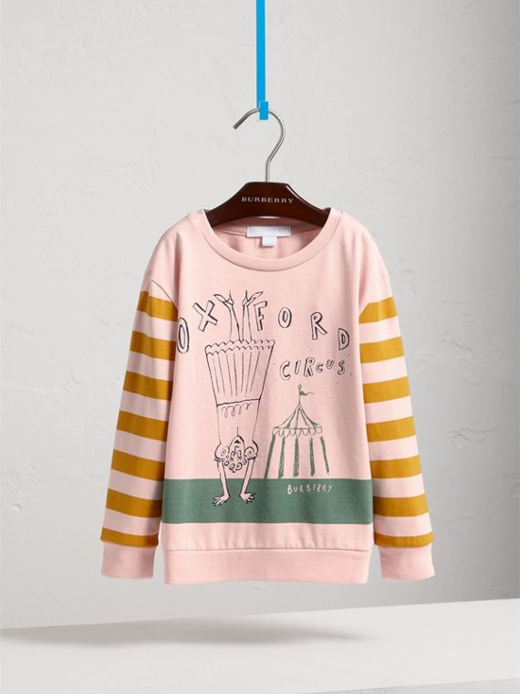 London Icons Print Cotton Long-sleeved Top in Chalk Pink - Girl | Burberry - cell image 2