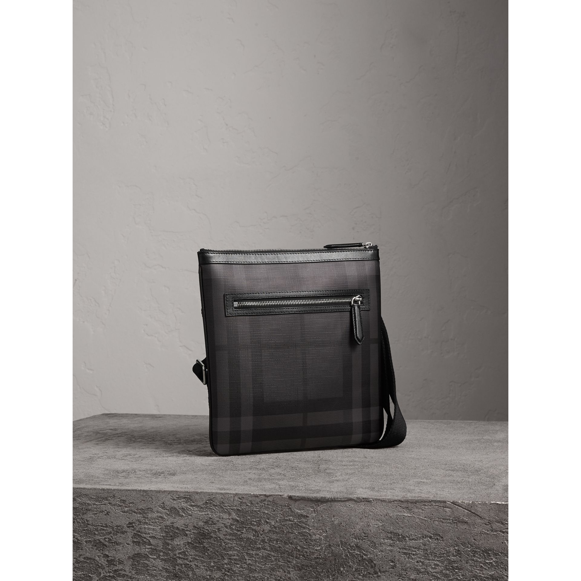 Leather Trim London Check Crossbody Bag in Charcoal/black - Men | Burberry - gallery image 5