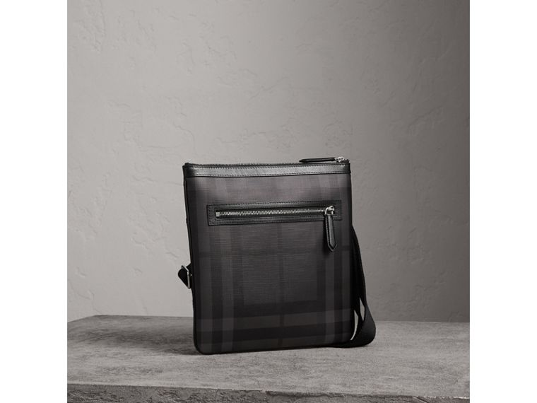 Leather Trim London Check Crossbody Bag in Charcoal/black - Men | Burberry - cell image 4