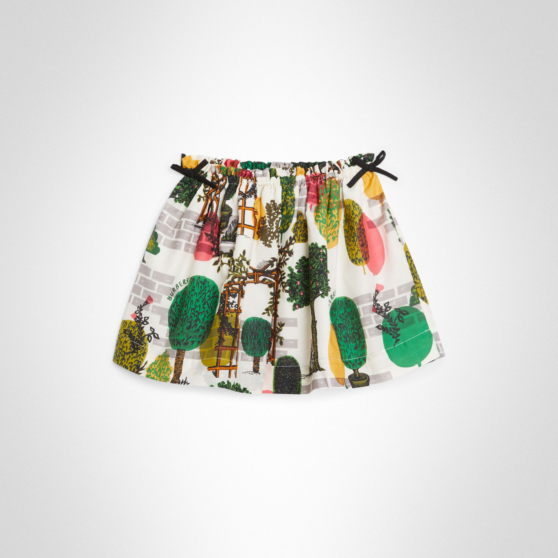 Tree Print Cotton Silk Skirt in Natural White | Burberry - gallery image 0