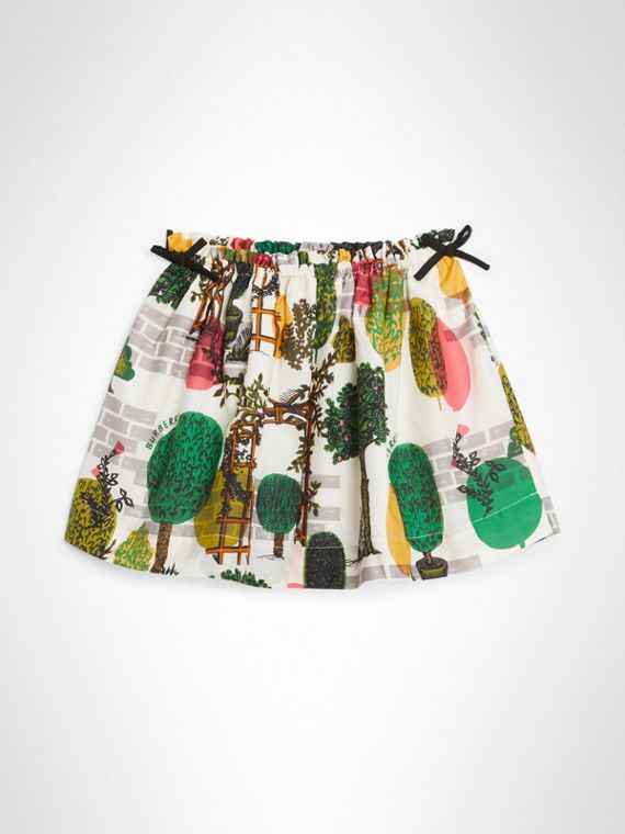 Tree Print Cotton Silk Skirt in Natural White