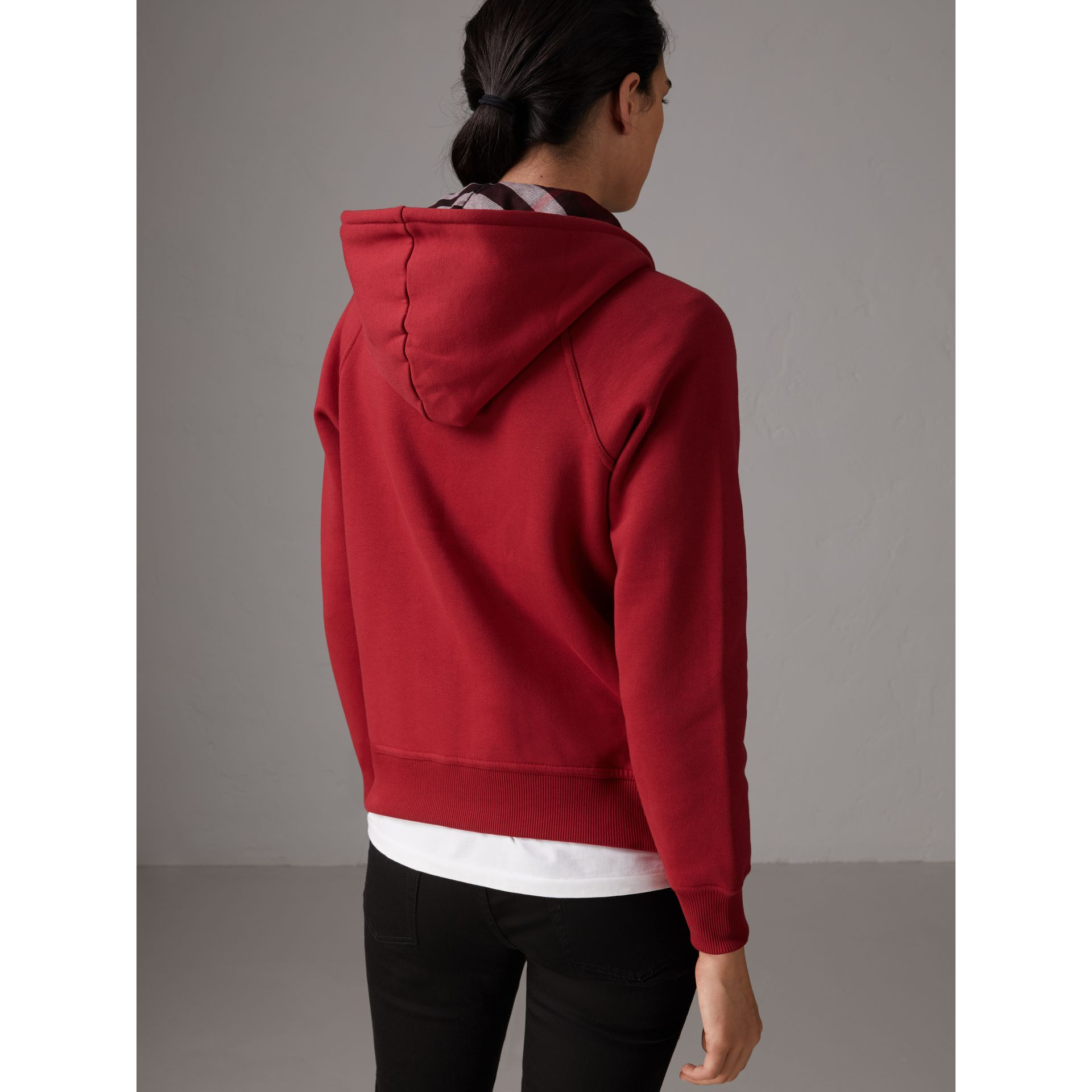 Hooded Zip-front Cotton Blend Sweatshirt in Parade Red - Women | Burberry Singapore - gallery image 3