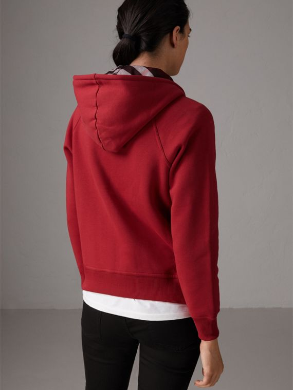 Hooded Zip-front Cotton Blend Sweatshirt in Parade Red - Women | Burberry Singapore - cell image 2