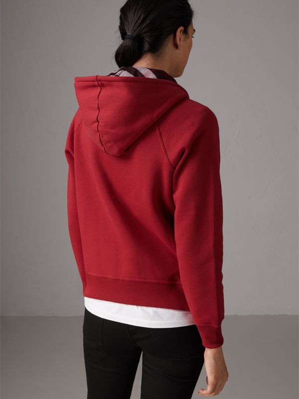 Hooded Zip-front Cotton Blend Sweatshirt in Parade Red - Women | Burberry United Kingdom - cell image 2