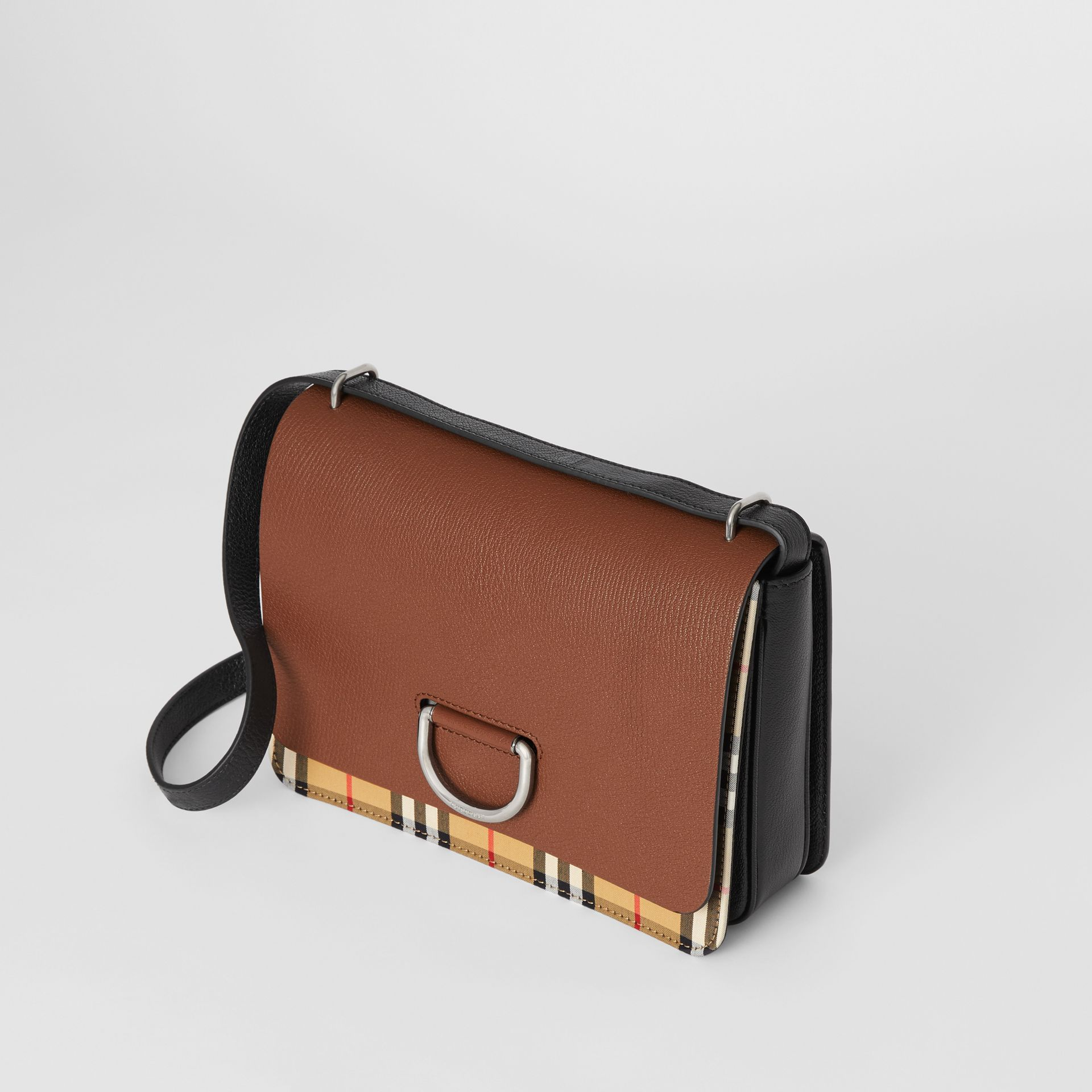 The Medium Vintage Check and Leather D-ring Bag in Tan/black - Women | Burberry Australia - gallery image 4