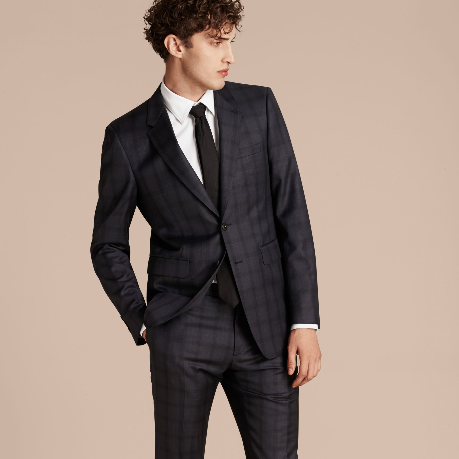 Navy Modern Fit Check Wool Part-canvas Suit - gallery image 8