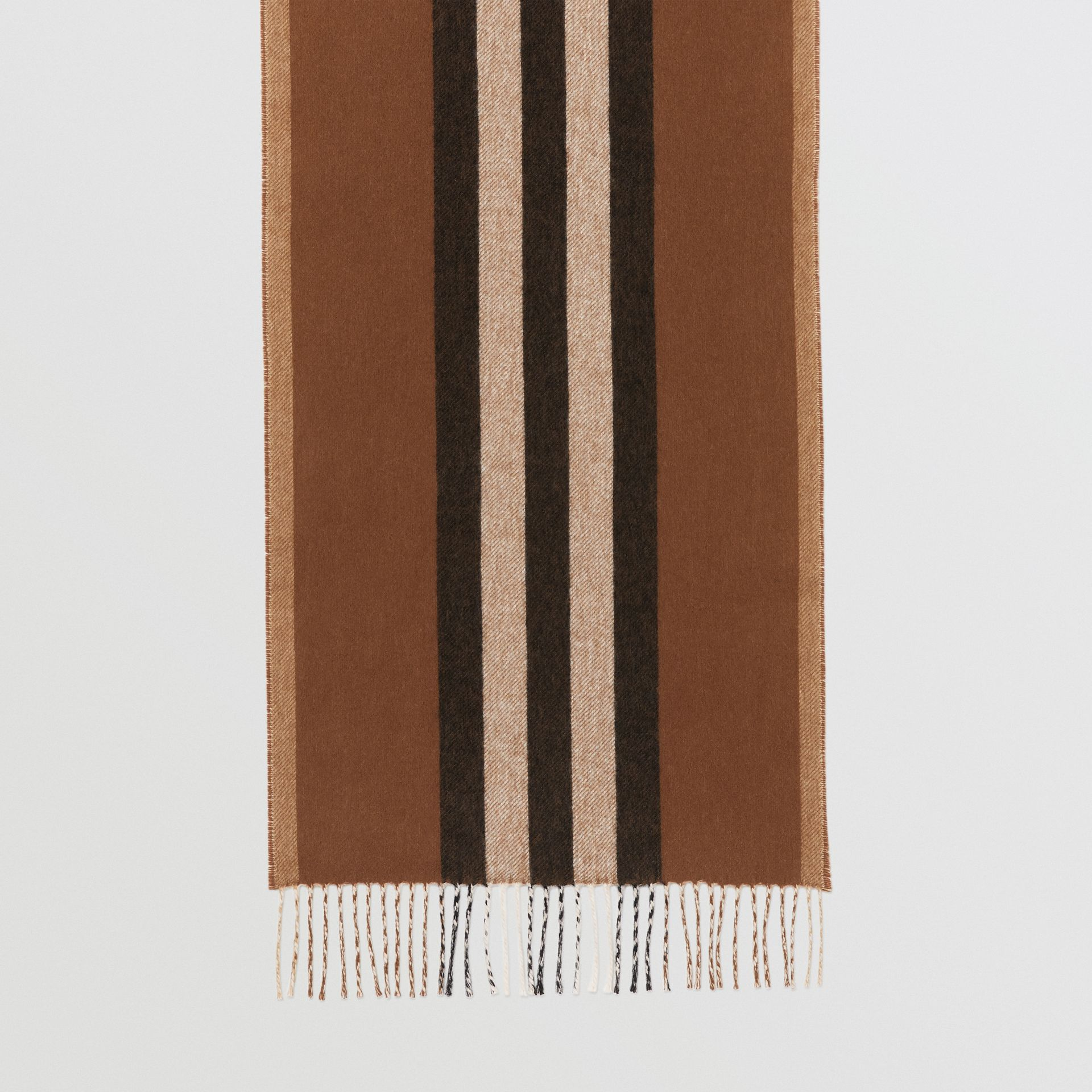 Reversible Icon Stripe Cashmere Scarf in Dark Chestnut Brown | Burberry - gallery image 4